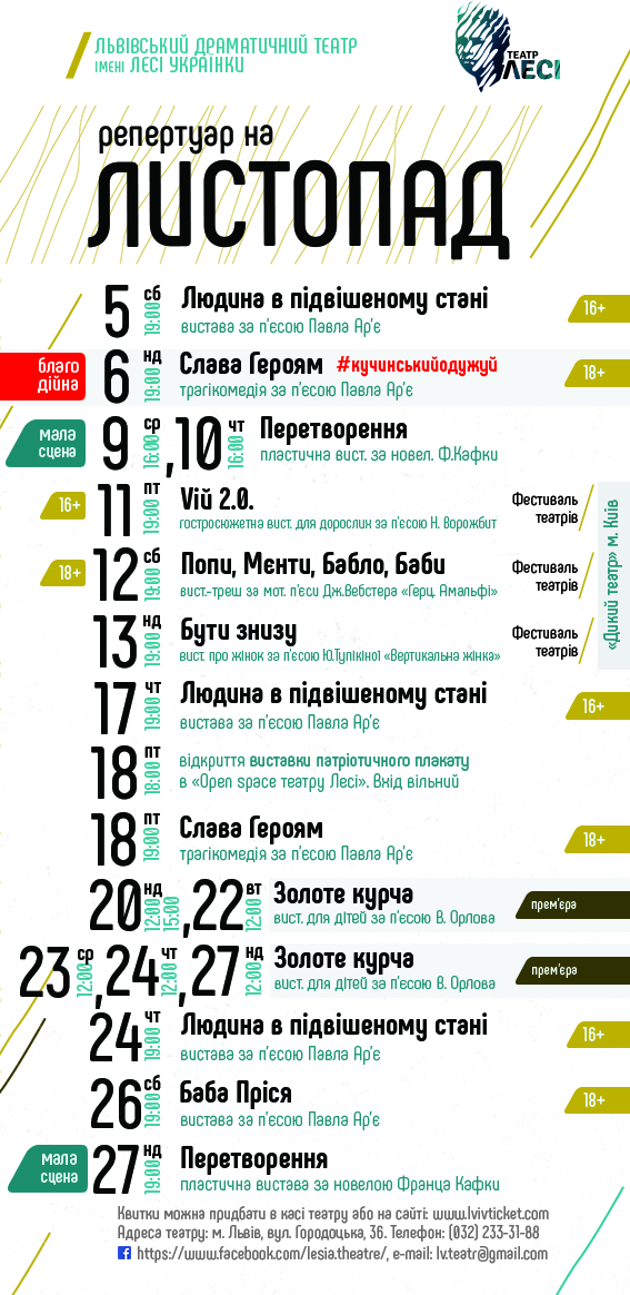 театр Лесі_репертуар на листопад