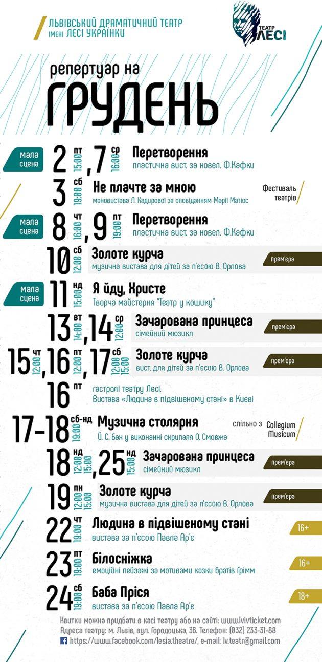 театр лесі_львів_репертуар на грудень